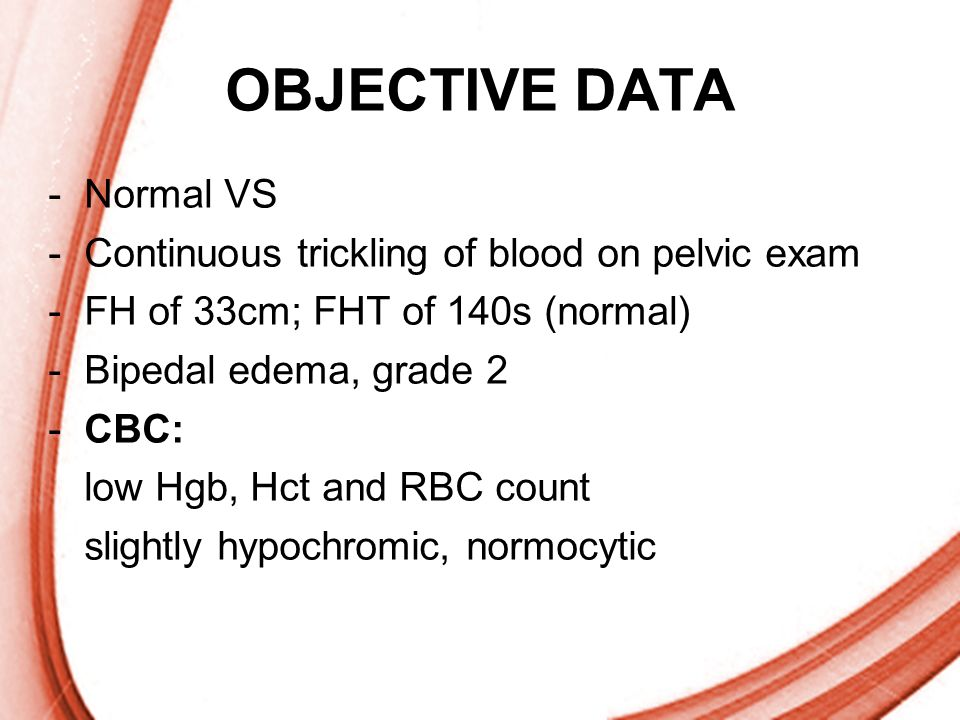 OBJECTIVE DATA Normal VS Continuous trickling of blood on pelvic exam