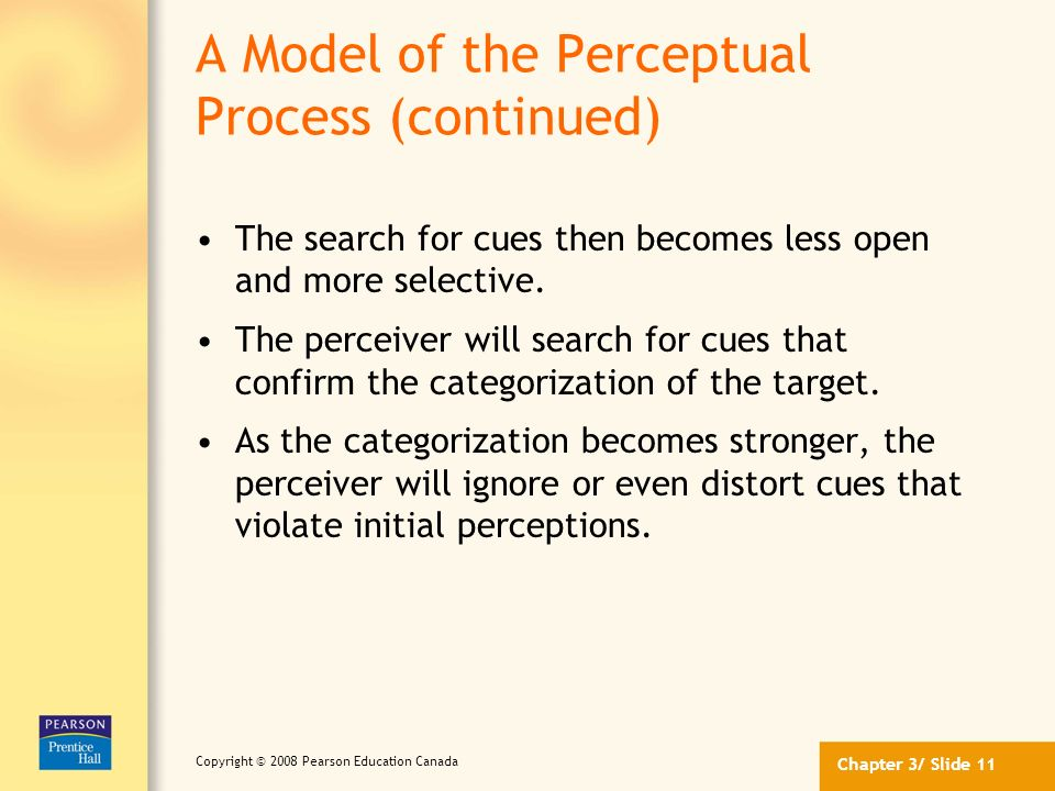 A Model of the Perceptual Process (continued)