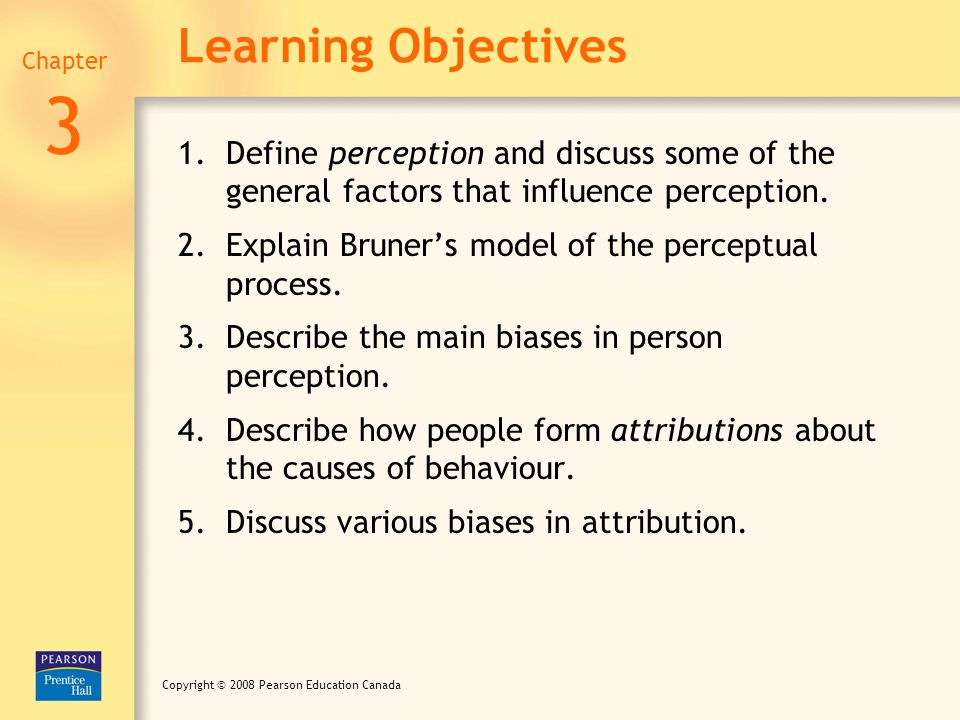 Learning Objectives Chapter. 3. Define perception and discuss some of the general factors that influence perception.