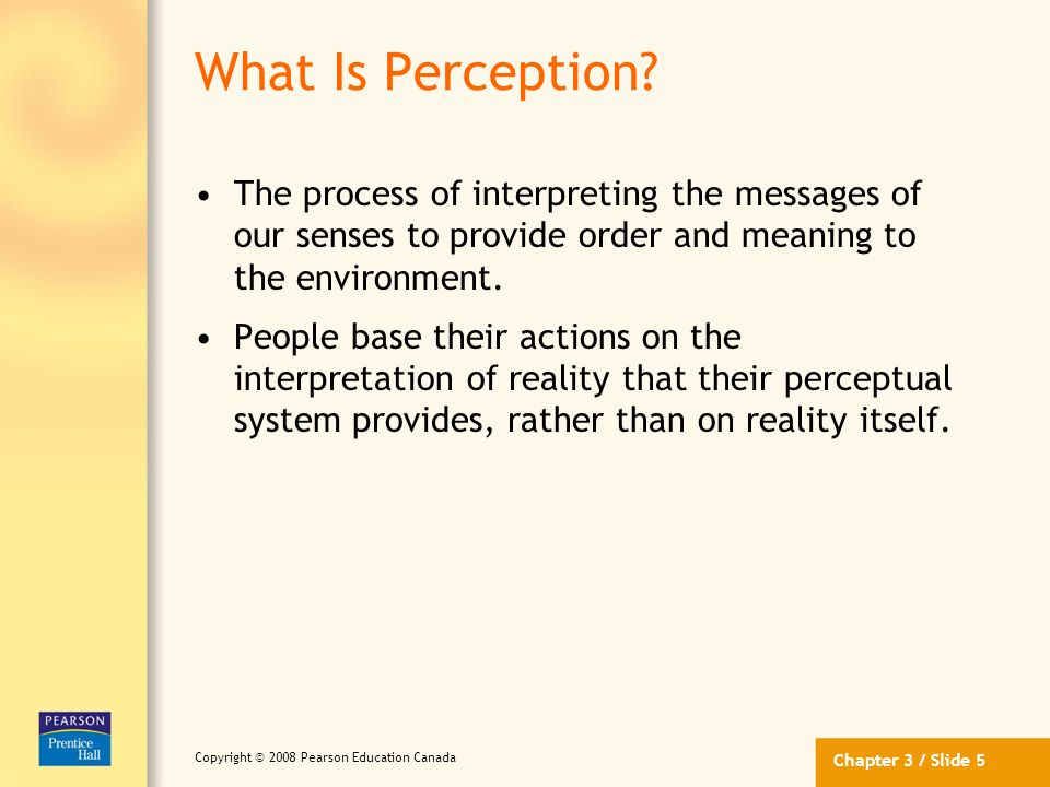 What Is Perception The process of interpreting the messages of our senses to provide order and meaning to the environment.