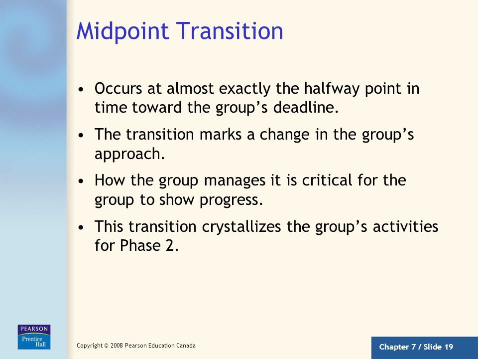 Midpoint Transition Occurs at almost exactly the halfway point in time toward the group's deadline.