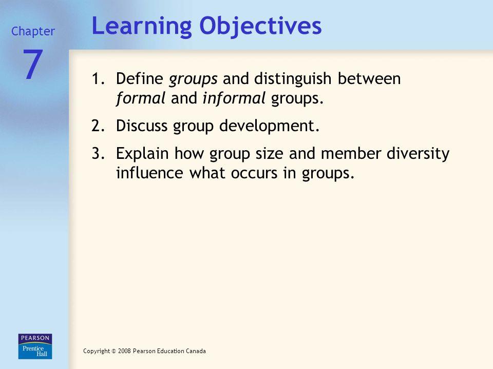 distinguish between formal and informal groups