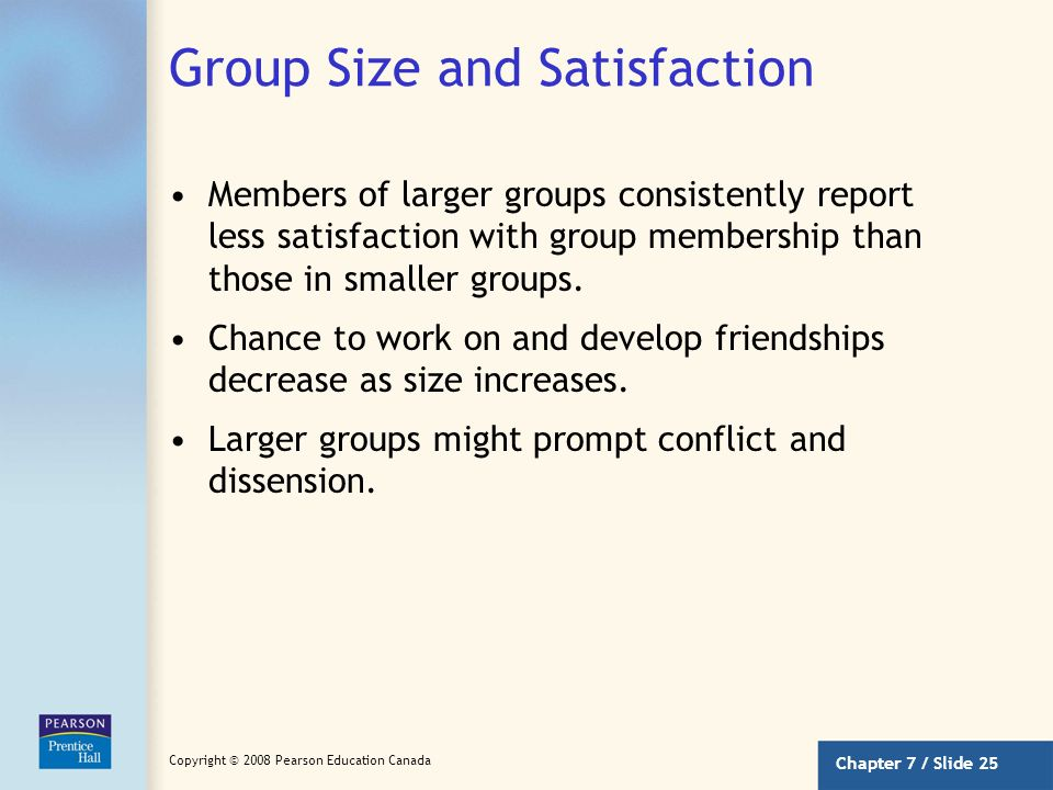 Group Size and Satisfaction