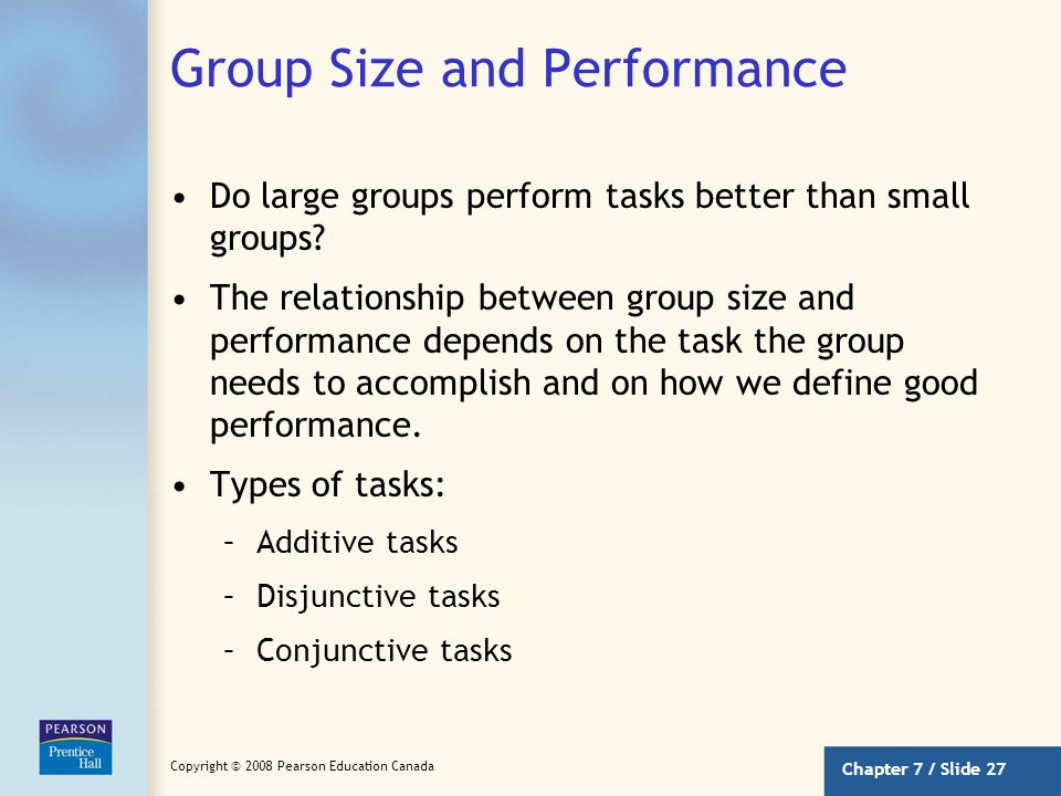 Group Size and Performance
