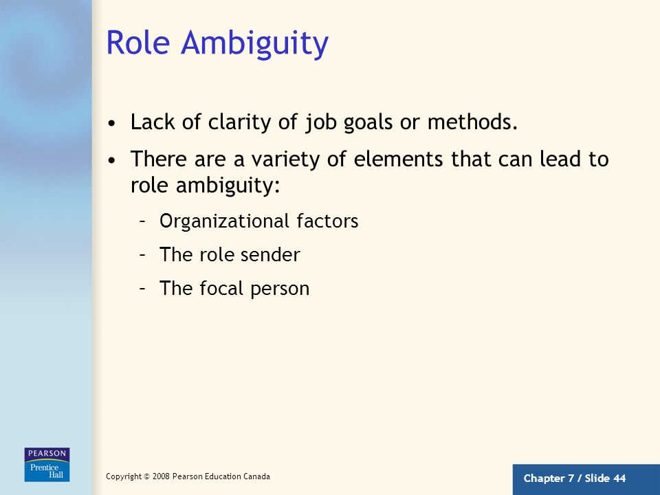 Role Ambiguity Lack of clarity of job goals or methods.