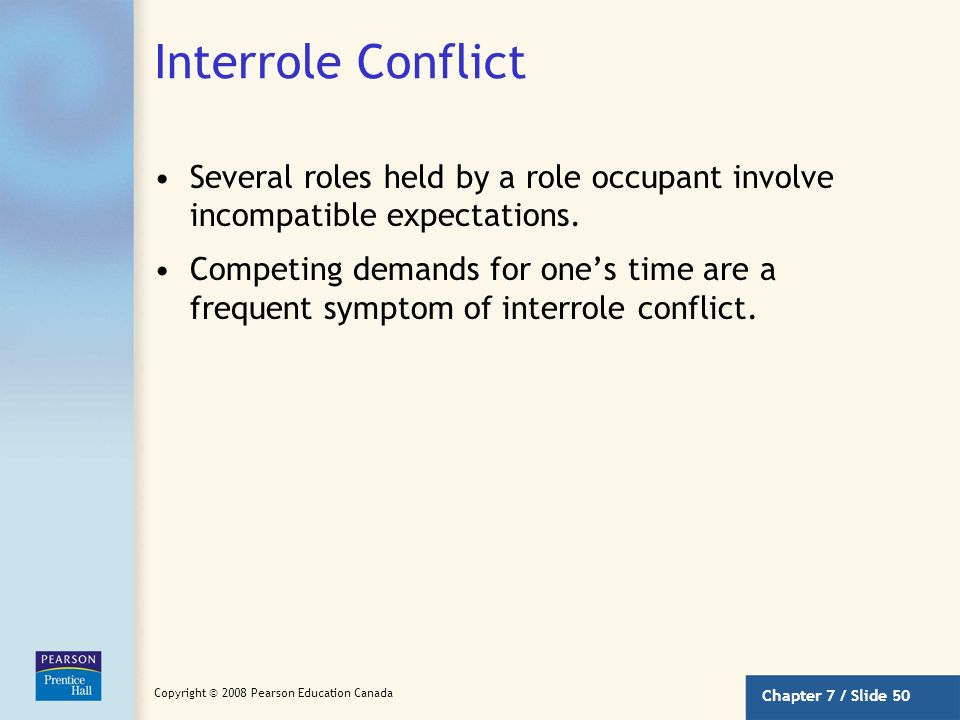 Interrole Conflict Several roles held by a role occupant involve incompatible expectations.