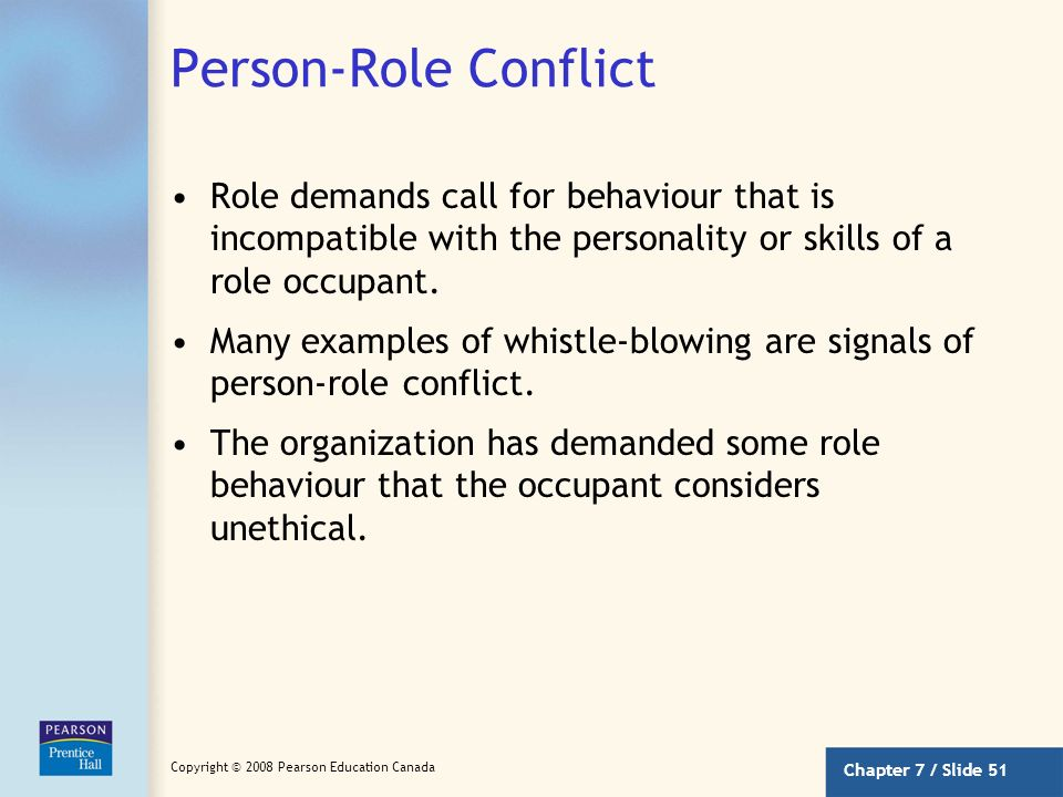 Person-Role Conflict Role demands call for behaviour that is incompatible with the personality or skills of a role occupant.