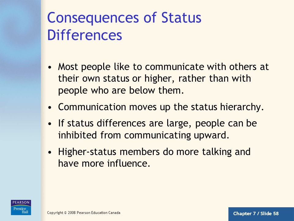 Consequences of Status Differences