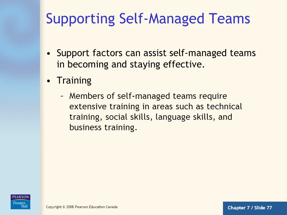 Supporting Self-Managed Teams