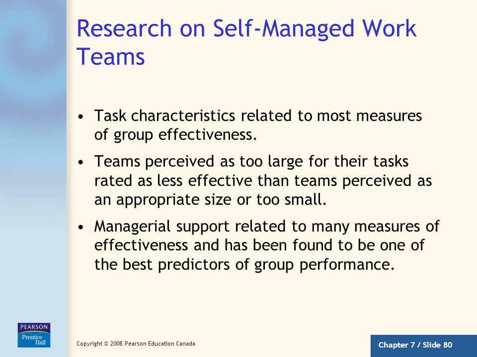 Research on Self-Managed Work Teams