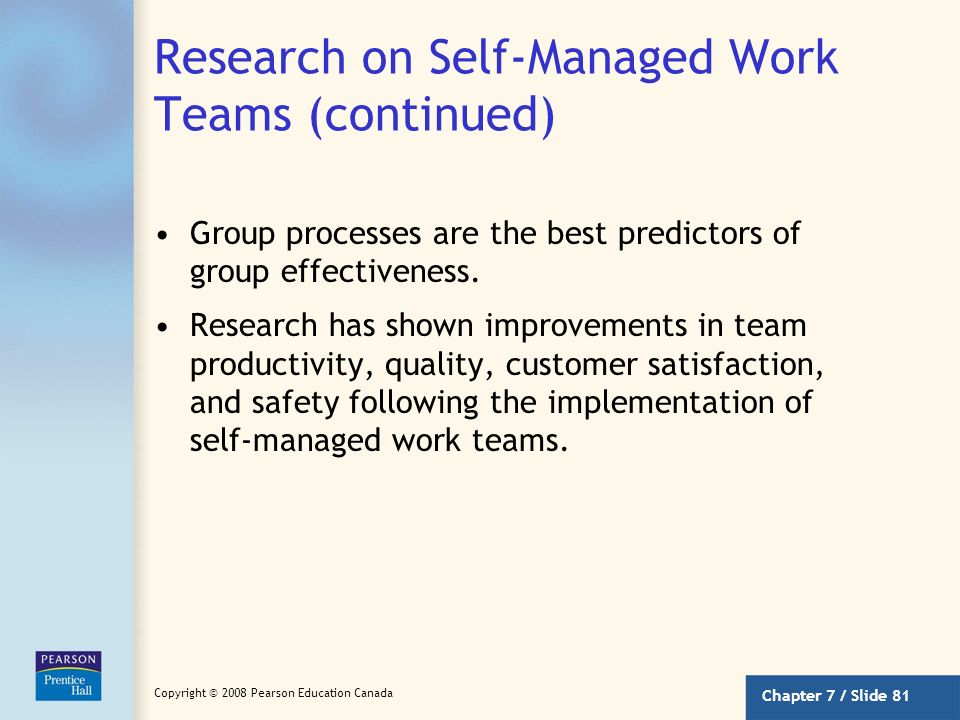 Research on Self-Managed Work Teams (continued)