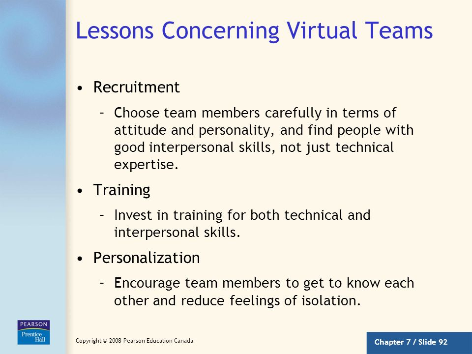 Lessons Concerning Virtual Teams