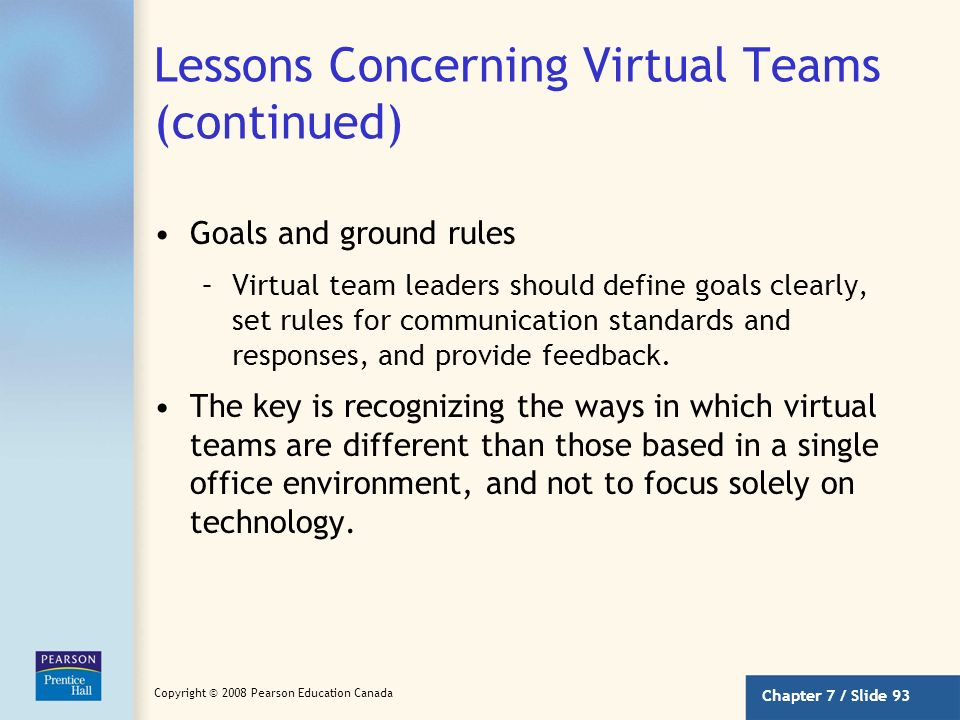 Lessons Concerning Virtual Teams (continued)