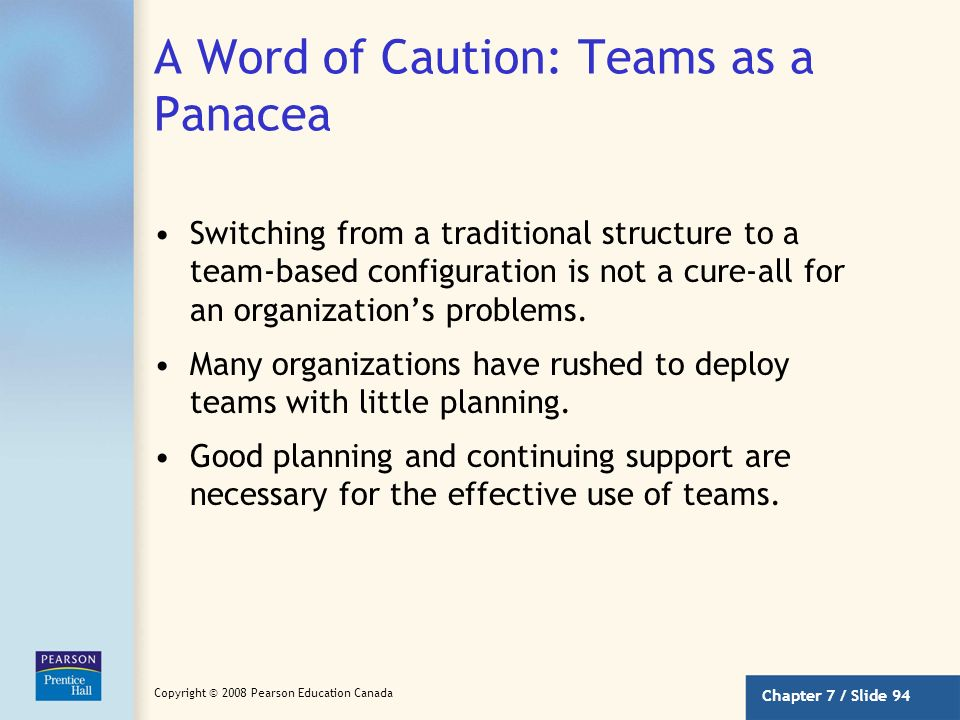 A Word of Caution: Teams as a Panacea