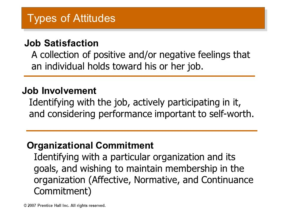 Types of Attitudes Job Satisfaction A collection of positive and/or negative feelings that an individual holds toward his or her job.