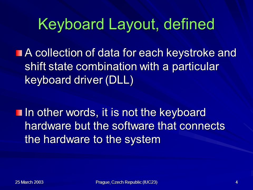 Keyboard Layout, defined