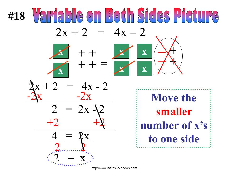 Move the smaller number of x's to one side