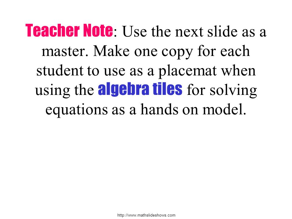 Teacher Note: Use the next slide as a master