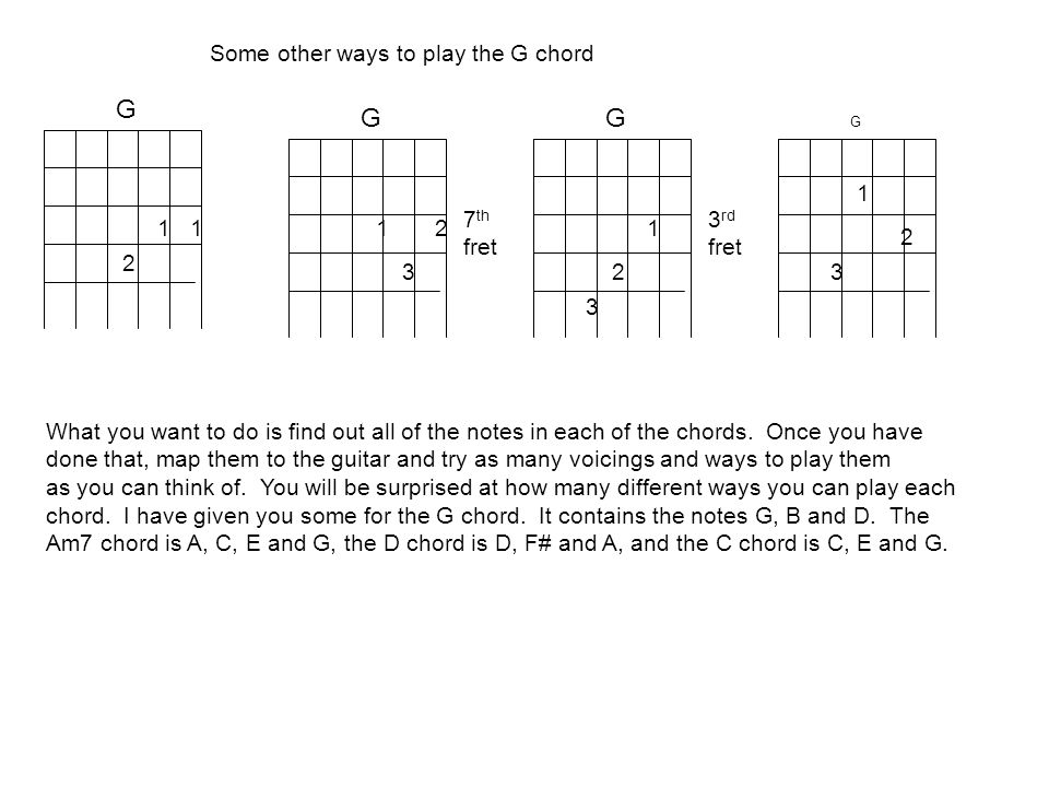 G G G Some other ways to play the G chord 1 7th fret 3rd fret