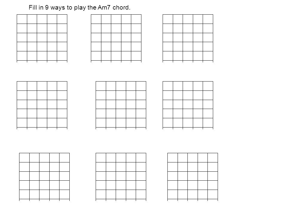 Fill in 9 ways to play the Am7 chord.