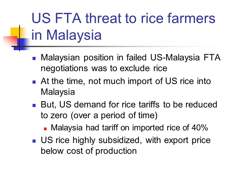 US FTA threat to rice farmers in Malaysia