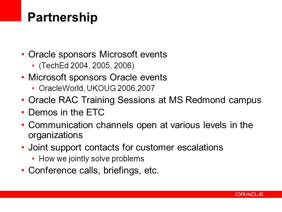 Partnership Oracle sponsors Microsoft events