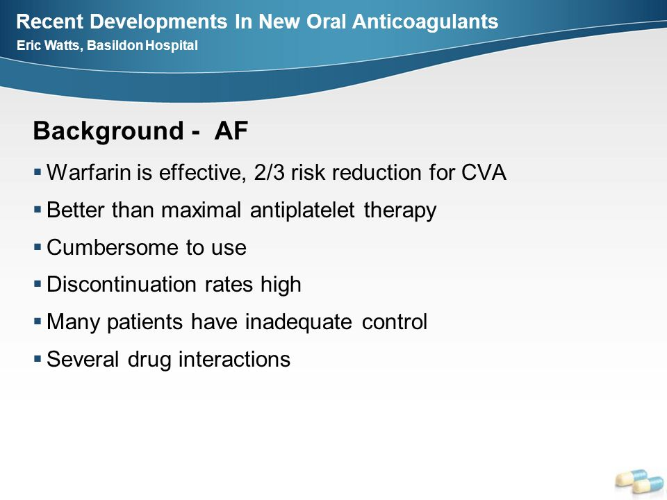 Background - AF Warfarin is effective, 2/3 risk reduction for CVA