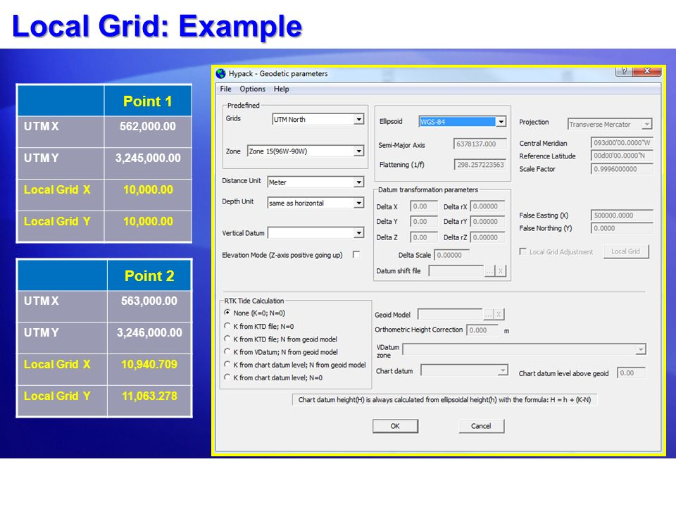 Local Grid: Example Point 1 Point 2 UTM X 562, UTM Y
