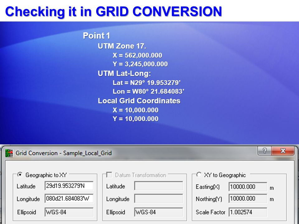 Checking it in GRID CONVERSION