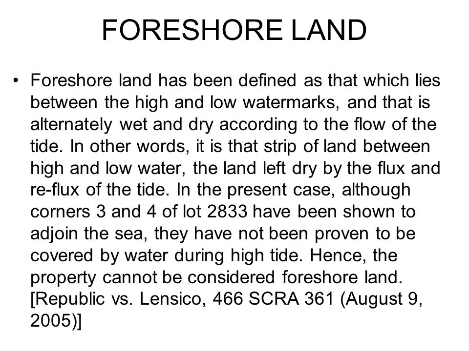 FORESHORE LAND