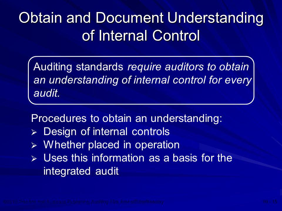 Obtain and Document Understanding of Internal Control