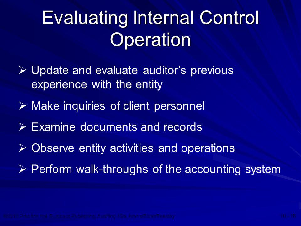 Evaluating Internal Control Operation