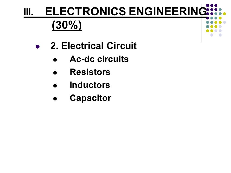 III. ELECTRONICS ENGINEERING (30%)