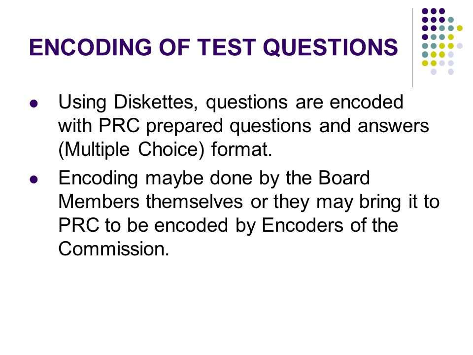 ENCODING OF TEST QUESTIONS