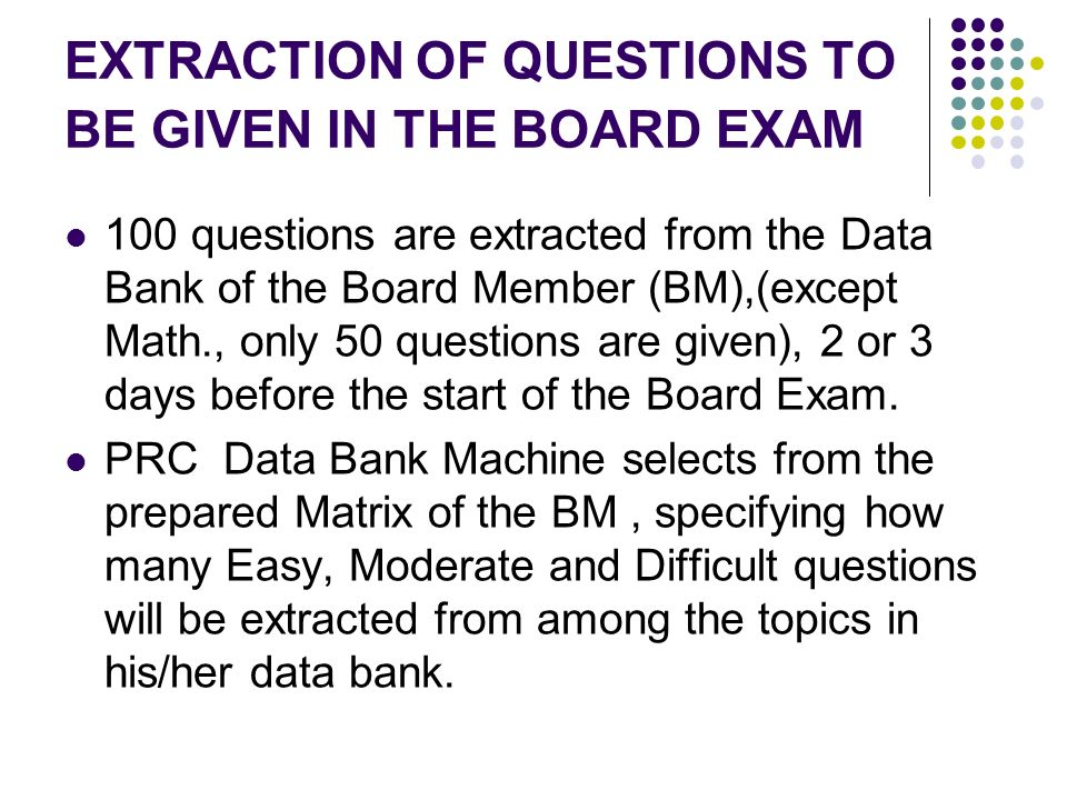 EXTRACTION OF QUESTIONS TO BE GIVEN IN THE BOARD EXAM