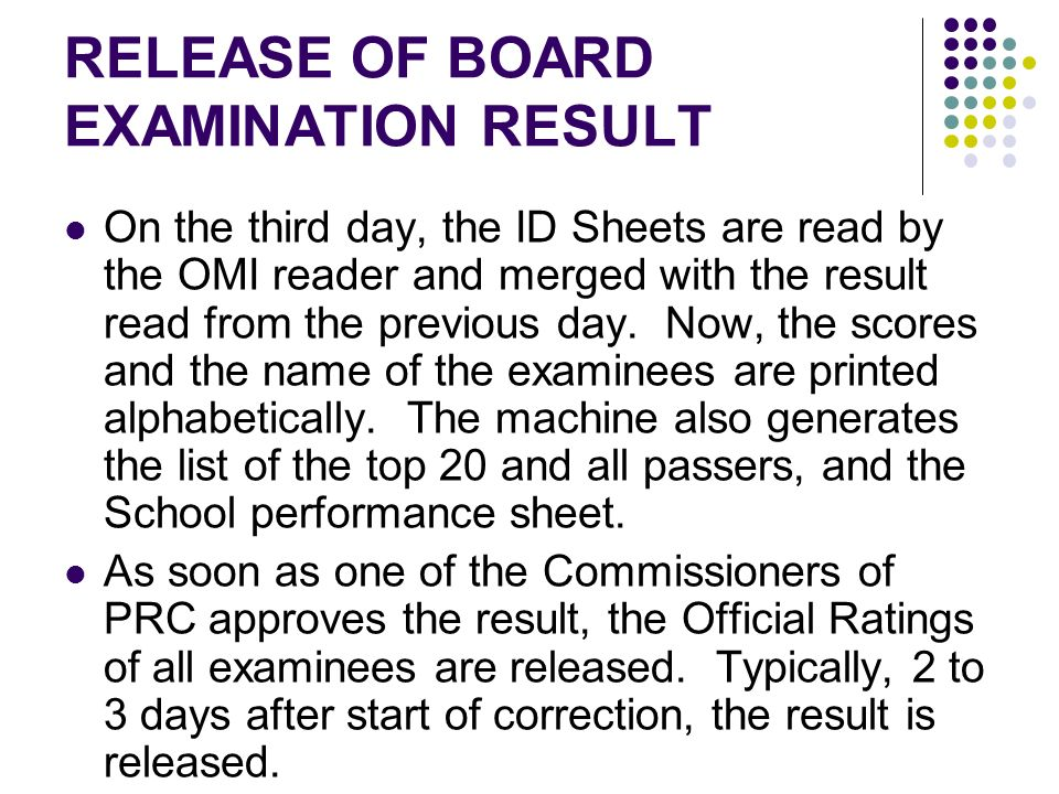 RELEASE OF BOARD EXAMINATION RESULT