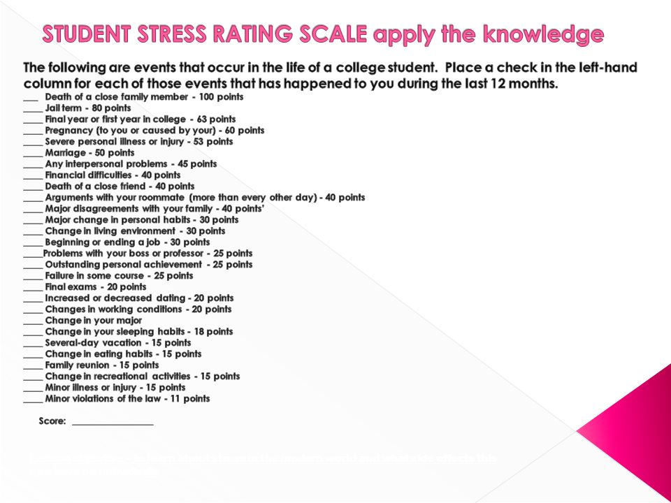 STUDENT STRESS RATING SCALE apply the knowledge