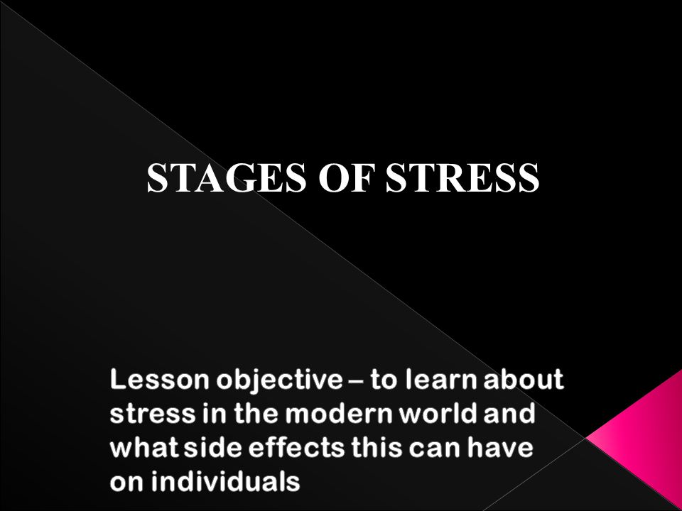 STAGES OF STRESS Lesson objective – to learn about stress in the modern world and what side effects this can have on individuals.
