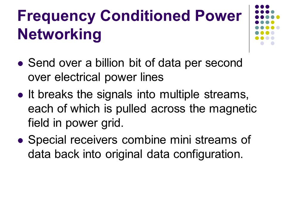 Frequency Conditioned Power Networking