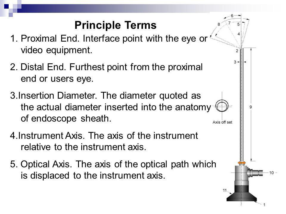 Principle Terms Proximal End. Interface point with the eye or video equipment.