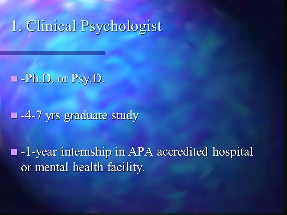 1. Clinical Psychologist