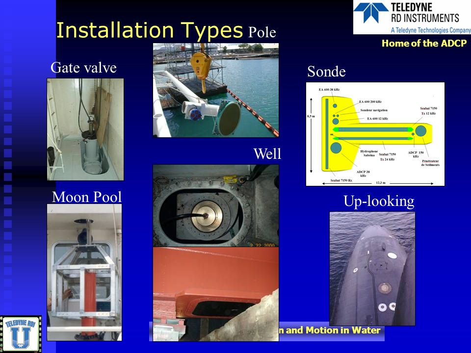 Installation Types Pole Gate valve Sonde Well Moon Pool Up-looking