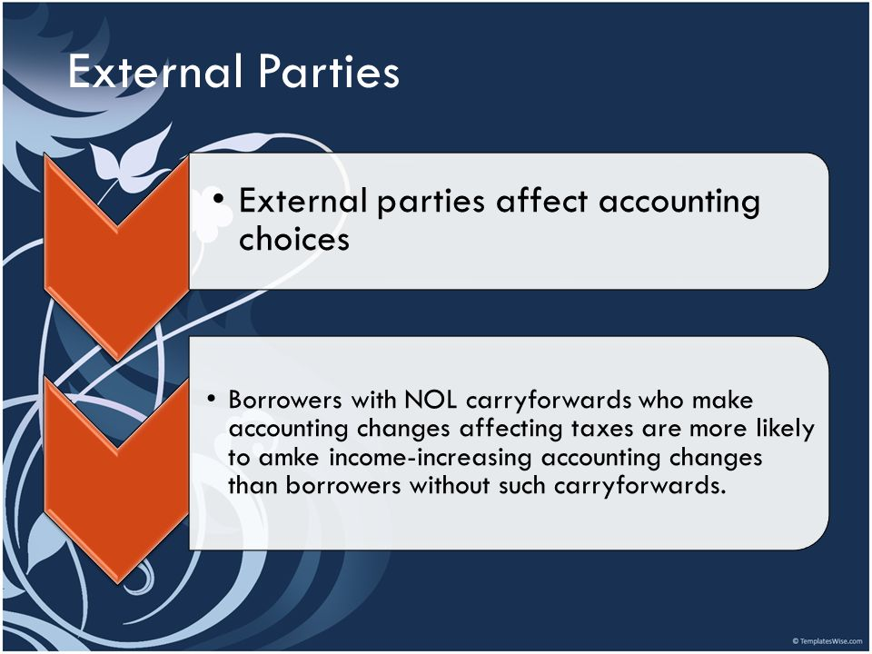 External Parties External parties affect accounting choices