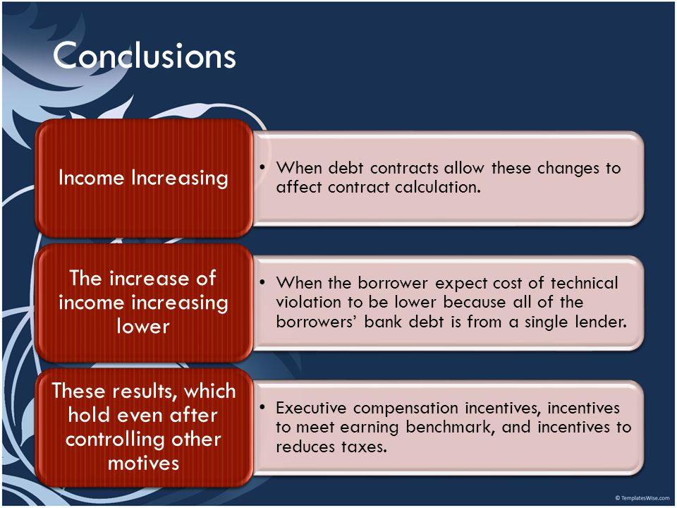Conclusions Income Increasing