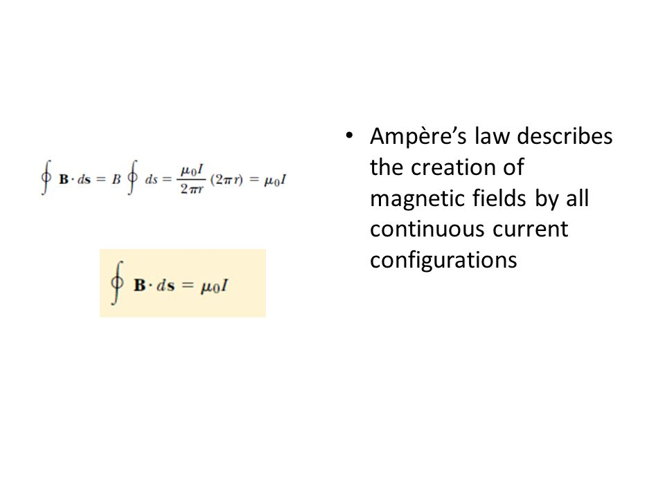 Ampère's law describes the creation of magnetic fields by all continuous current configurations