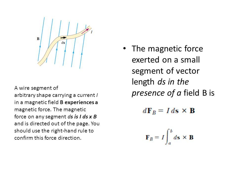 The magnetic force exerted on a small segment of vector length ds in the presence of a field B is