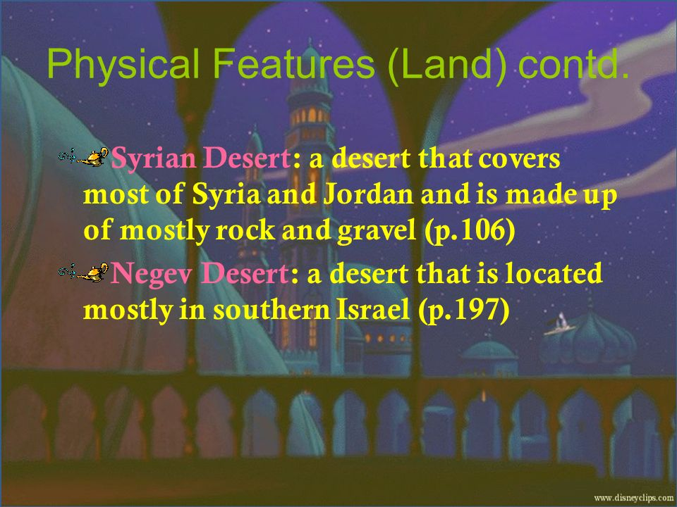 Physical Features (Land) contd.