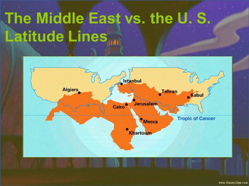 The Middle East vs. the U. S. Latitude Lines