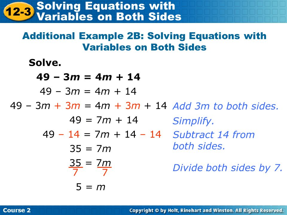 Additional Example 2B: Solving Equations with Variables on Both Sides