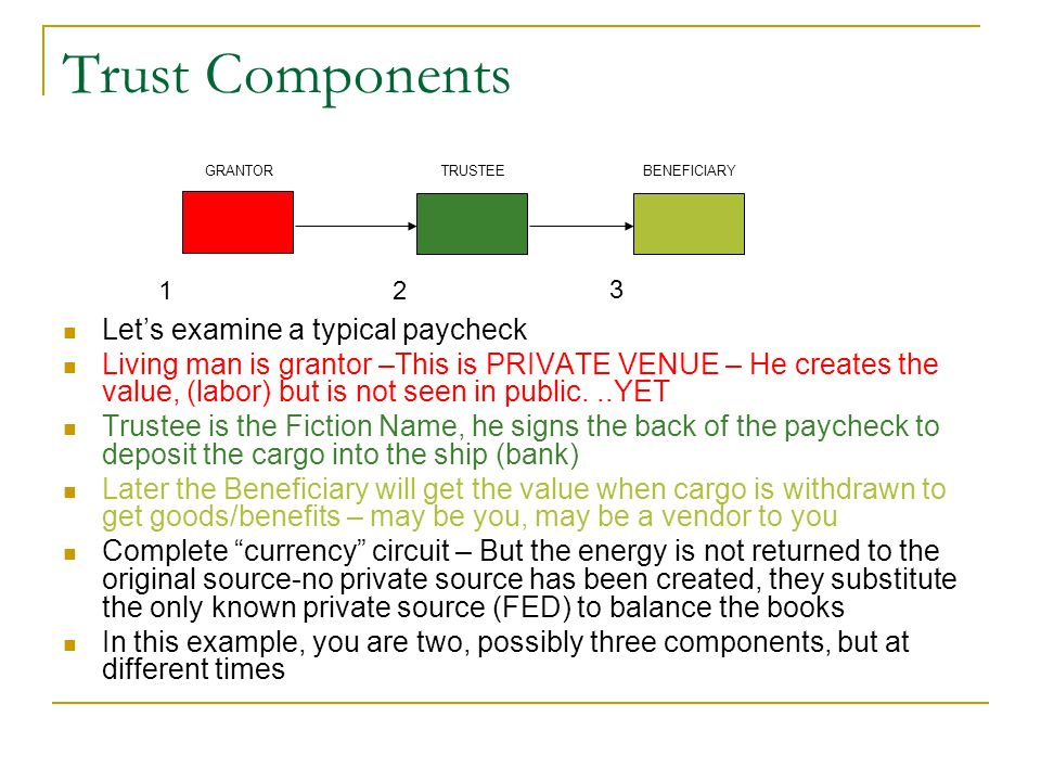 Trust Components Let's examine a typical paycheck